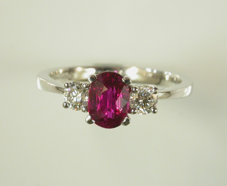 69717 - Exceptional Ruby & Diamond 3 Stone Ring in 18ct White Gold