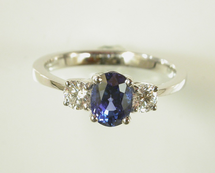 69718 - Blue Sapphire & Diamond 3 stone Ring in 18ct White Gold