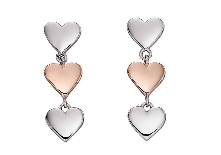 69921 - Rose gold plated multi heart drop earrings in Sterling Silver