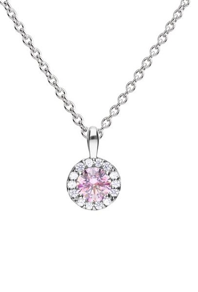 69969 - Silver diamonfire Pink & White CZ round shaped cluster Pendant & Chain