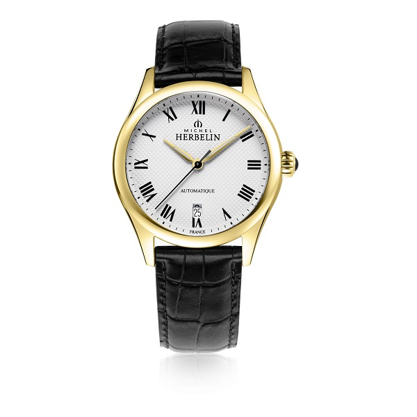 70024 - Michel Herbelin Large sized Gold Plated Classiques 24 Automatic  Watch on Strap