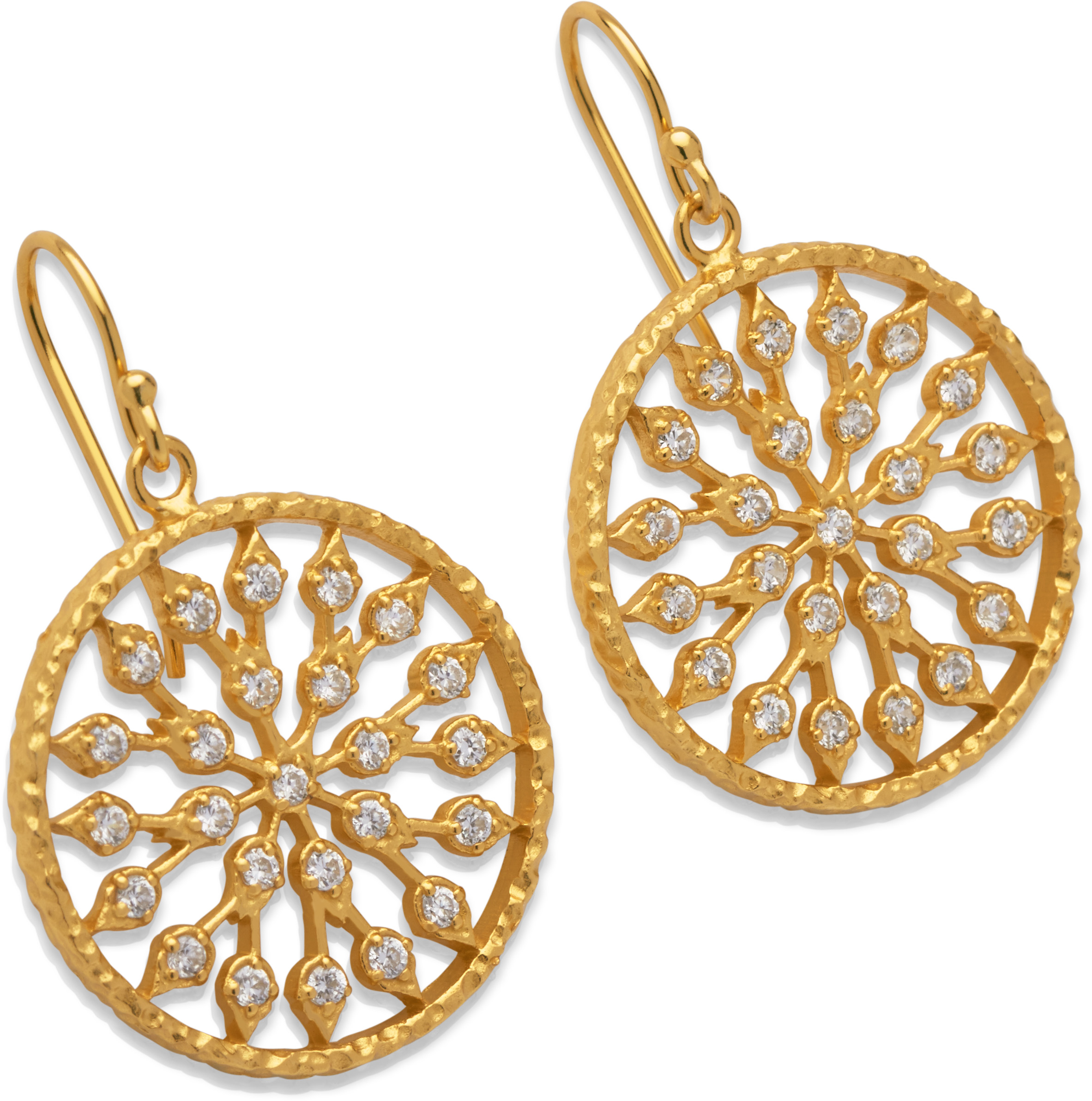68834 - Yellow gold plated Disc earrings in Sterling Silver