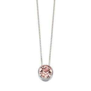 68781 - Pink Sapphire coloured Swarovski Crystal Pendant & chain in Sterling Silver
