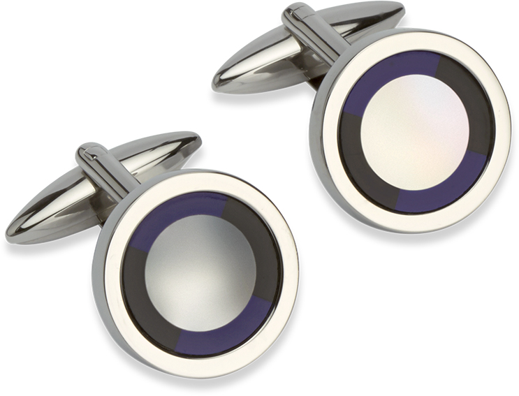 68806 - Target Cufflinks with Mother of pearl, Onyx & Lapis inset
