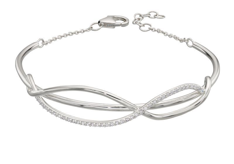 69439 - Entwined silver bracelet pave set with CZ