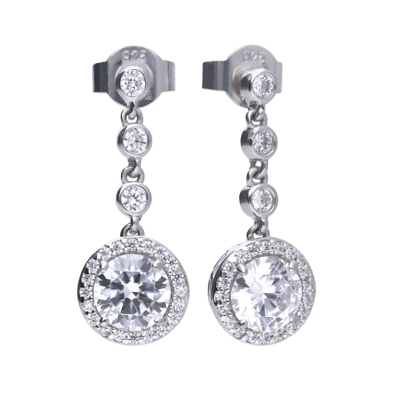 69480 - diamonfire Cubic Zirconia set silver drop earrings