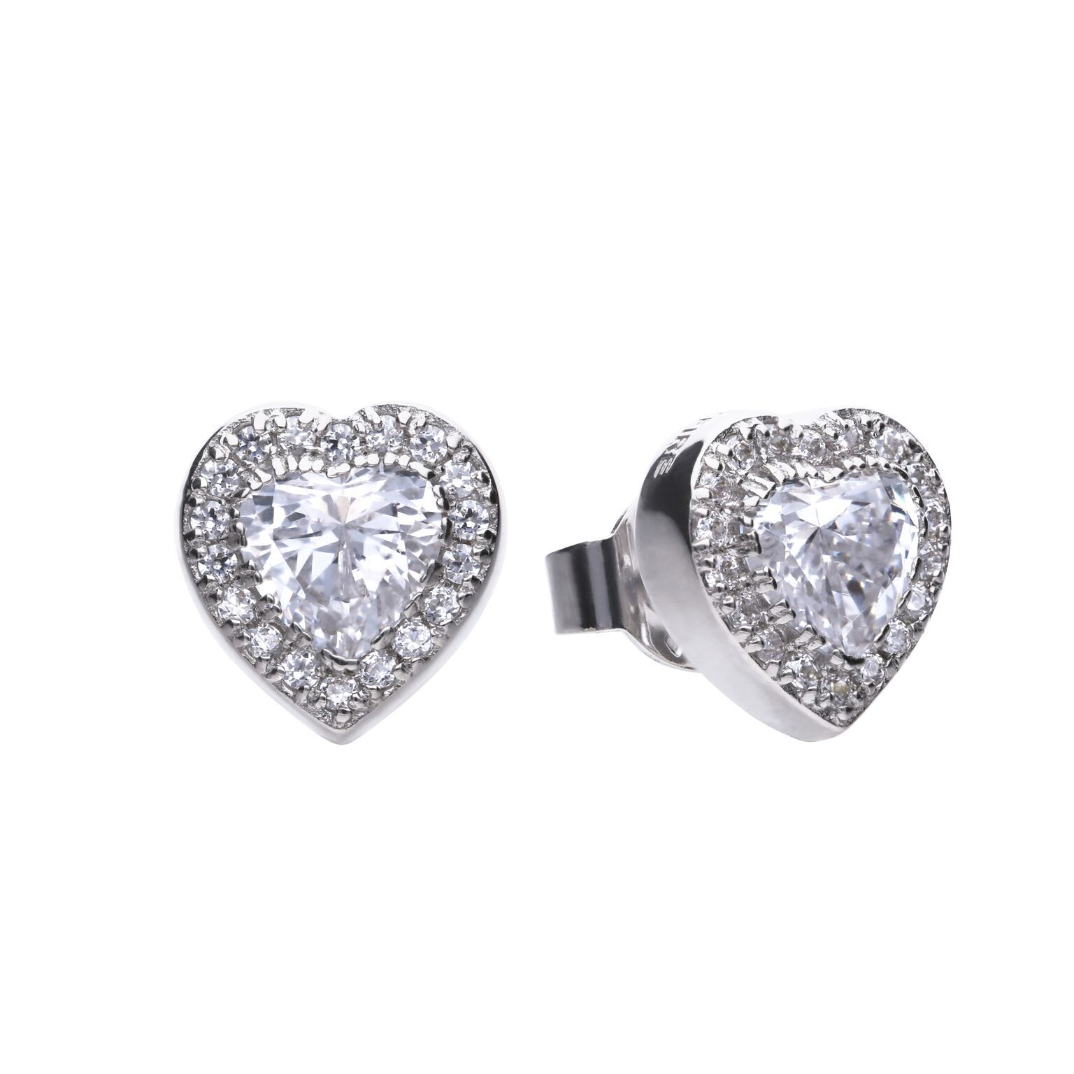 69564 - diamonfire CZ Heart shaped Stud Earrings in Sterling Silver