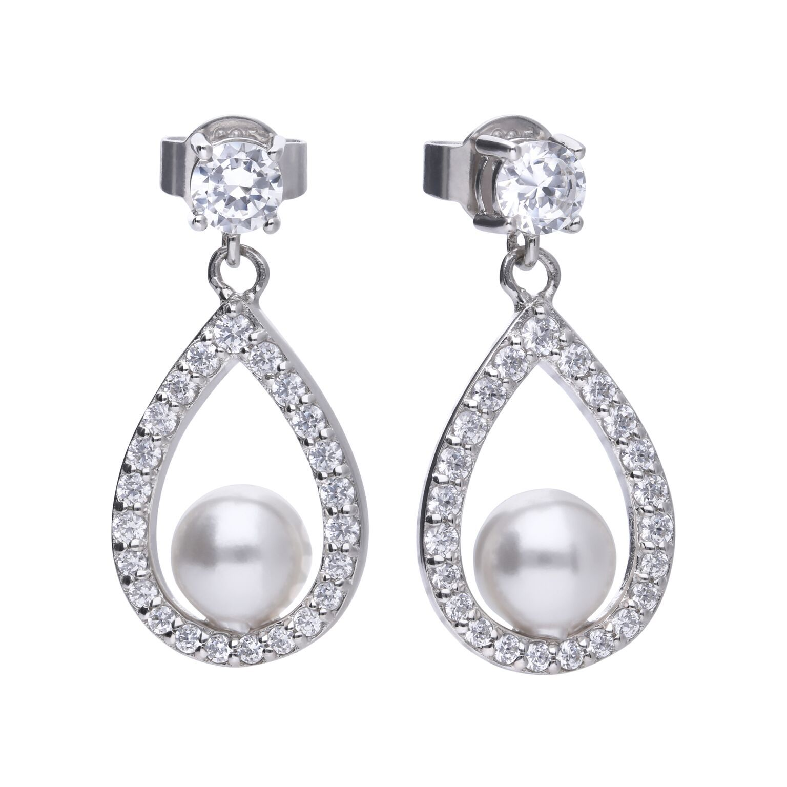 69481 - Pearl set diamonfire Cubic Zirconia set silver drop earrings