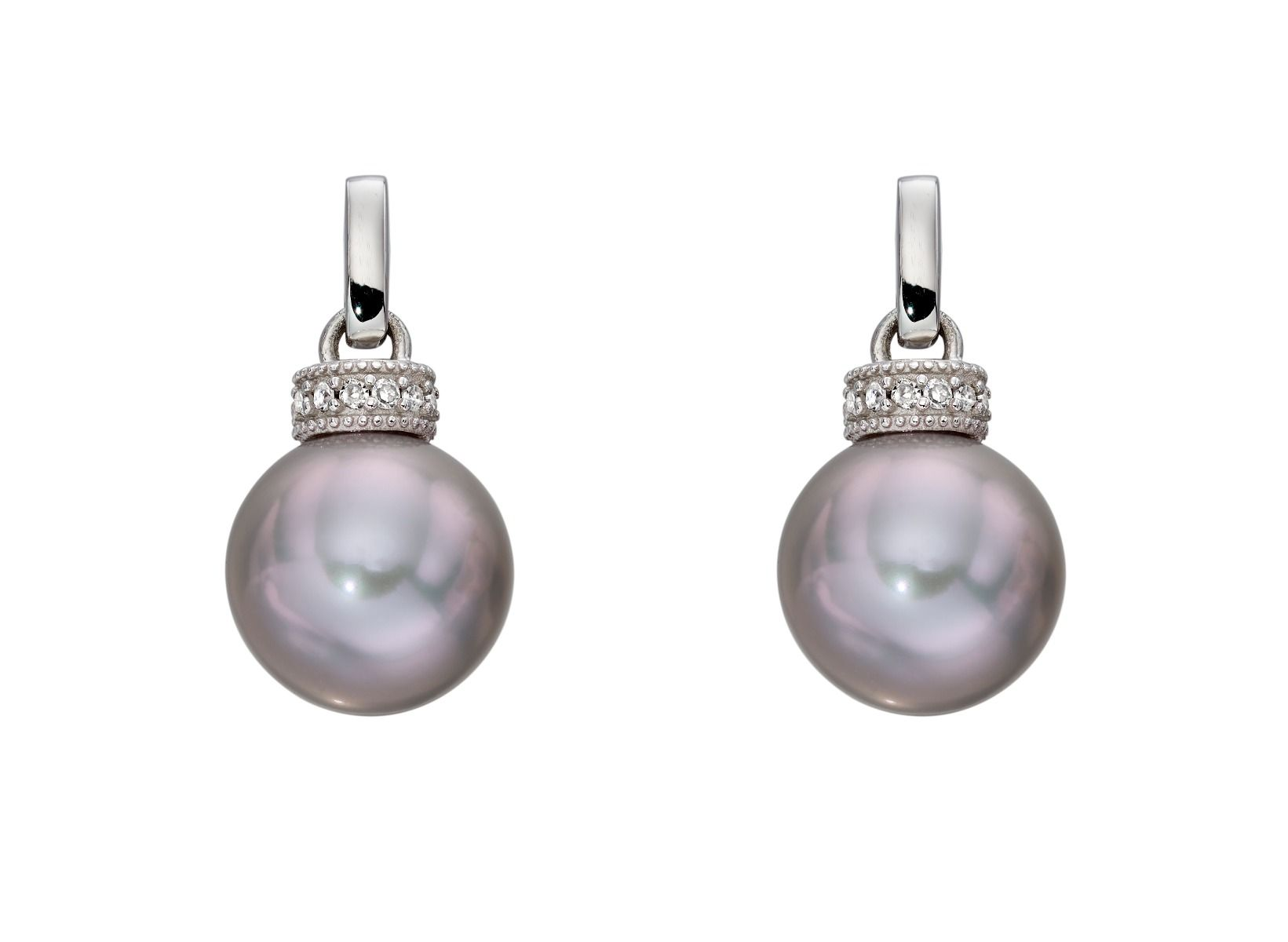 69500 - Pearl drop earrings in 9ct white gold
