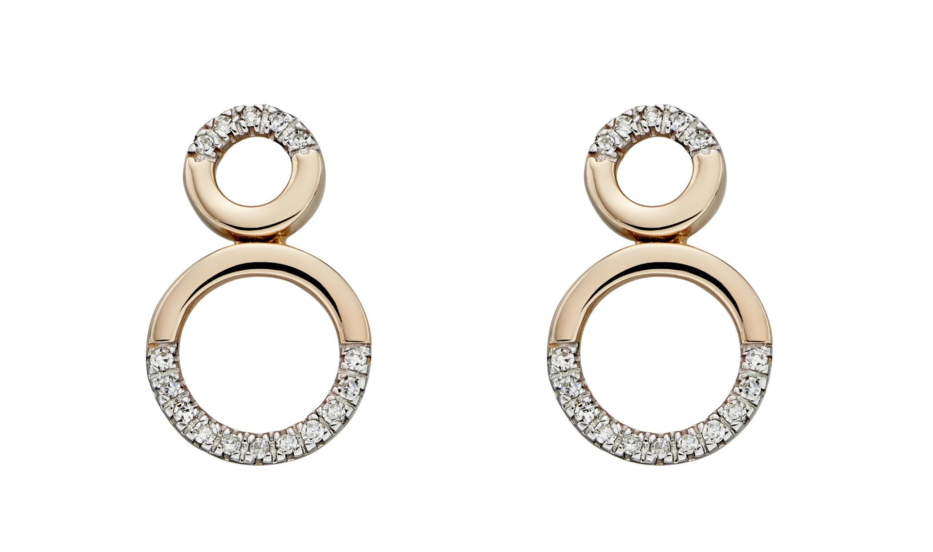 69501 - Open double circle stud earring in 9ct yellow gold