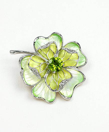64310 - Green Flower Brooch