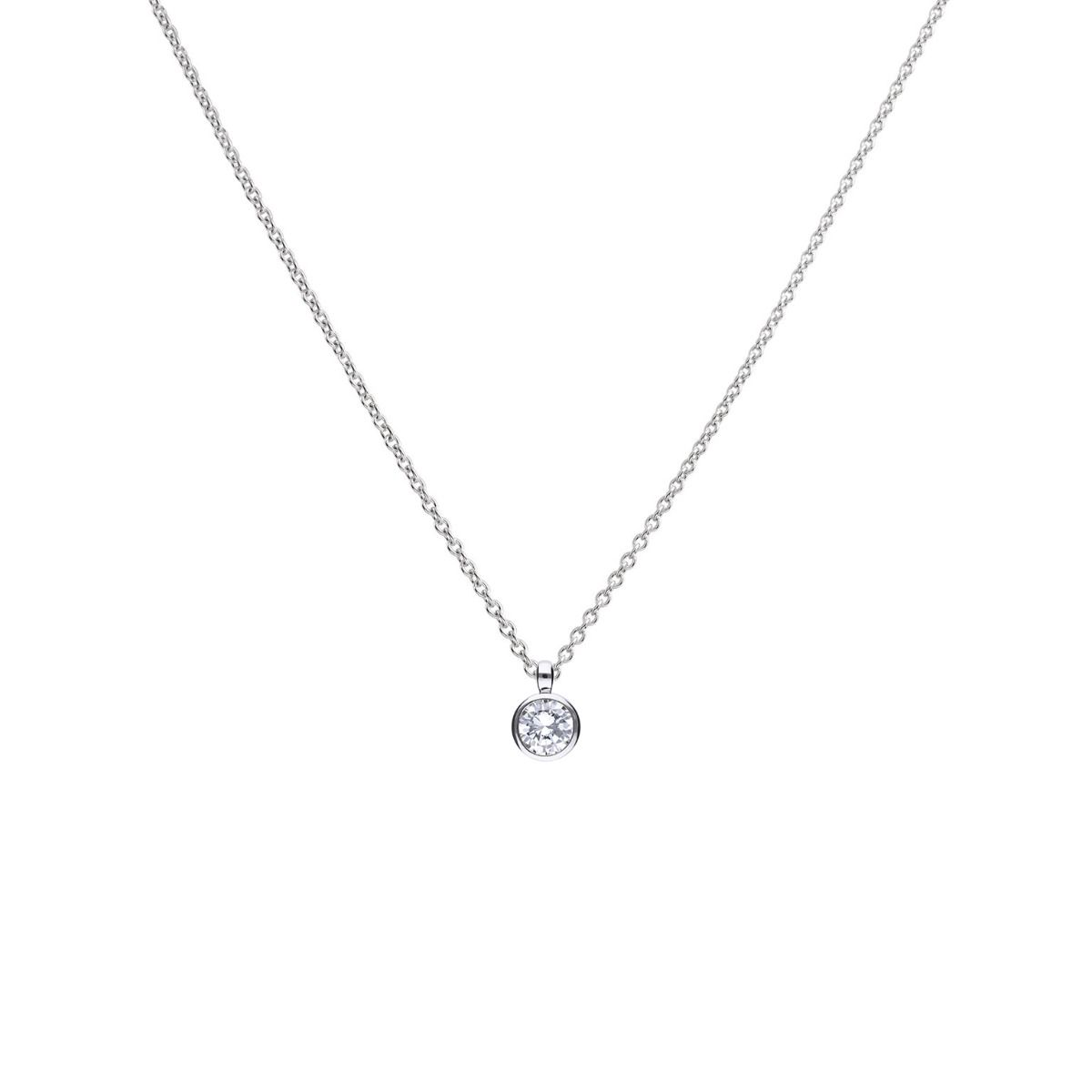 69490 - Silver diamonfire CZ 2.0ct Claw set Solitaire Pendant & Chain