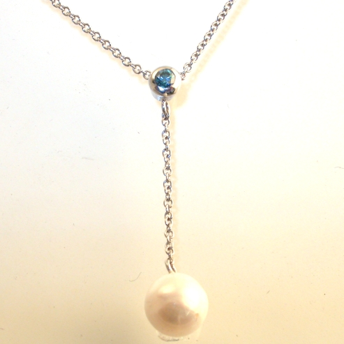 66925 - Treated Fancy Blue Diamond & Cultured Pearl Pendant