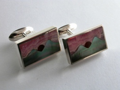66544 - Mountains at Sunset Cufflinks in Sterling Silver