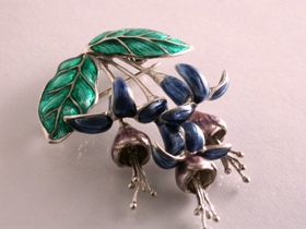 64301 - Fuschia Drop Brooch in Green, Lavender & Blue Enamel