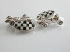 65015 - Racing Car Cufflinks in Sterling Silver