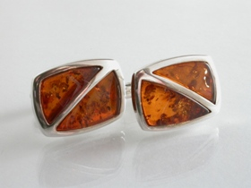 65027 - Amber Cufflinks in Sterling Silver