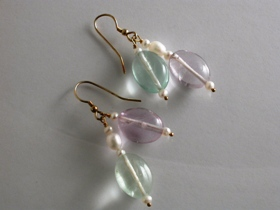 65037 - Fluorite & Pearl Drop Earrings in Sterling Silver