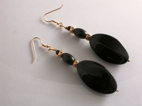 65044 - Onyx Drop Earrings in 9ct Gold