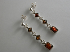 65108 - Golden Amber Drop Earrings in Sterling Silver