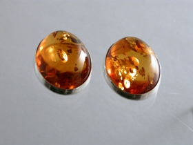 65109 - Oval Amber Stud Earrings in Sterling Silver