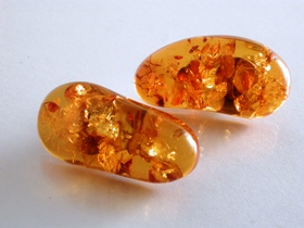 65124 - Golden Amber Freeform Stud Earrings