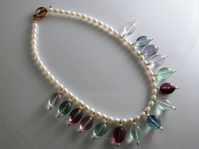 65338 - Fluorite & Pearl Fringe Necklace