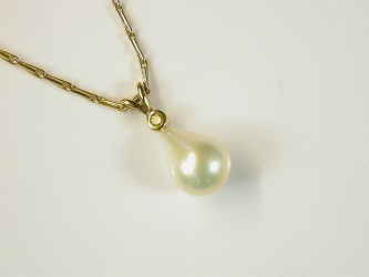 65612 - Natural Coloured Canary Yellow Diamond & Cultured Pearl Pendant