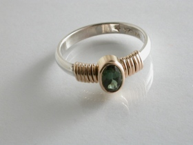 65733 - Green Tourmaline Ring in Sterling Silver