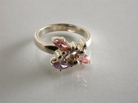 65734 - Stone set Pink, Blue & Colourless Ring in Sterling Silver
