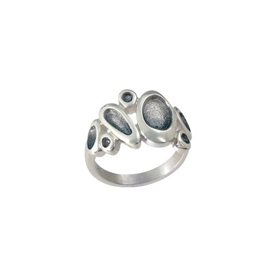 66611 - Sterling Silver Shoreline Pebble Ring in Pearl Grey enamel