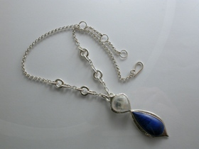 66788 - Handmade Sterling Silver Necklet set with Lapis Lazuli & Moonstone