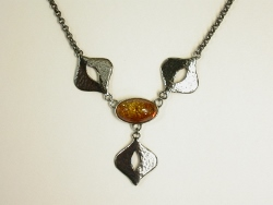 66800 - Handmade Oxidised Sterling Silver Necklet set with Golden Amber