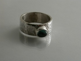 66823 - Handmade Ring in Sterling Silver set with Tourmaline