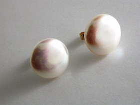 66876 - Coin shaped Cultured Pearl Earrings in 9ct Gold