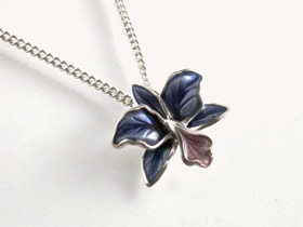 67111 - Orchid Pendant in Black & Purple Enamel including chain