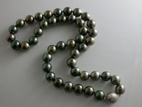 67177 - Tahitian Pearls with 18ct & Diamond Ball safety clasp
