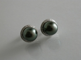 67203 - Stunning Tahitian Cultured Pearl & Diamond Earrings in 18ct White Gold