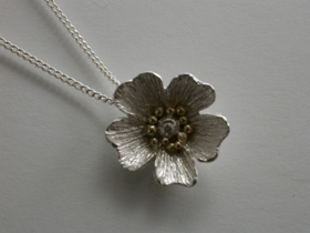 67272 - Inspired Flower Necklace in Sterling Silver & 18ct Gold with Diamond