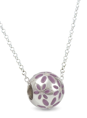 67353 - Sphere of Life 'Daisies' Pendant with Violet enamel in Sterling Silver