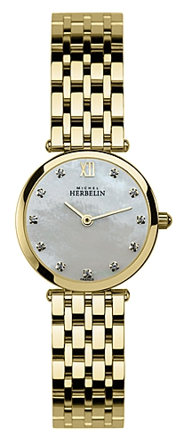 67464 - Michel Herbelin Small sized Ultra Slimline Gold Plated Bracelet Watch