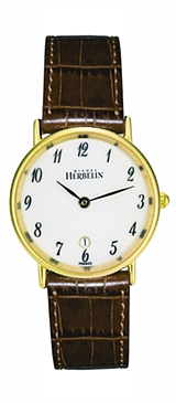 67466 - Michel Herbelin Small sized Slimline Gold Plated Strap Watch with Date