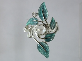 67563 - Sterling Silver Rowan Ring in Sage Enamel