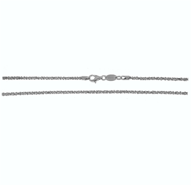 67653 - 50cm iMenso Rhodium plated Margherita pattern chain in Sterling Silver