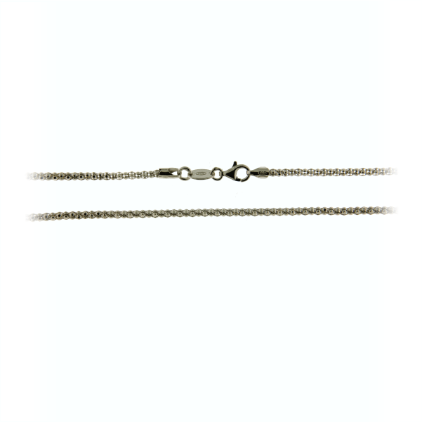 67662 - 80cm iMenso Rhodium plated Diabomba pattern chain in Sterling Silver