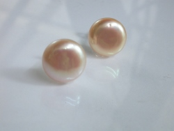 67723 - Large Naturally coloured Peach tone Cultured Pearl Stud earrings