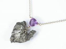 67828 - Meteorite&Amethyst 9ct Yellow Gold Necklet