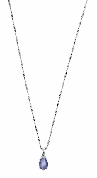 67863 - Iolite & Diamond Pendant & chain in 9ct White Gold