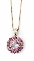 67866 - Amethyst & Tourmaline Cluster Pendant & chain in 9ct Yellow Gold