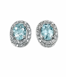 67873 - Aquamarine & Diamond Stud Earrings in 9ct Gold
